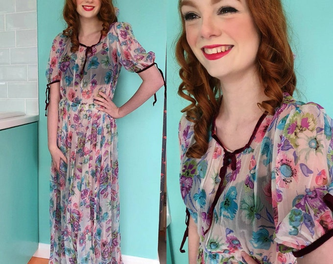 Incredible Vintage VTG 1930s 30s Sheer Floral Print Floaty Chiffon Maxi Floor Length Dress S M Puff Slvs