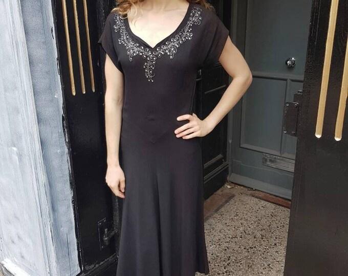 Stunning vintage vtg diamonte and bead 1930s 30s Black Bias Cut Moss Crepe Evening Dress LBD by Encore 28 Waist UK 8 10