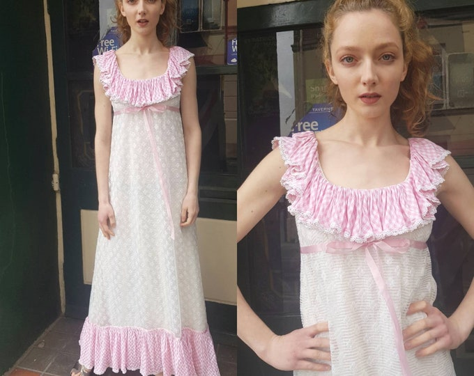 Pretty Vintage VTG 1970s Jean Varon White Lace and Pink Gingham Ruffle Maxi Dress S M