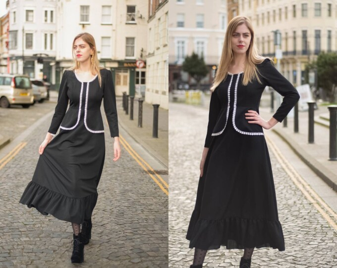 Sassy Vintage Black and White 1970s 70s Midi dress with peplum waist and ruffle skirt 10 M