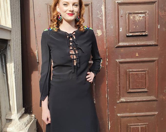Sassy vintage 1960s Louis Feraud Peekaboo Lace Front and Beautiful Beaded LBD Black Silk Dress  S