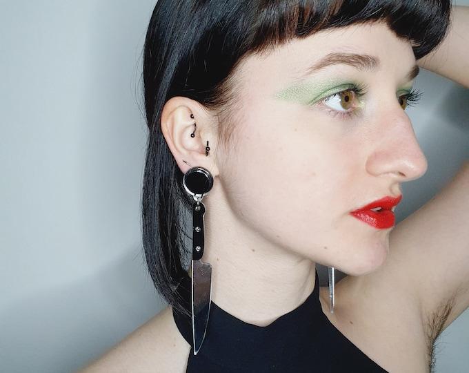 Statement Oversize Acrylic Silver Knife Novelty Earrings for pierced ears.