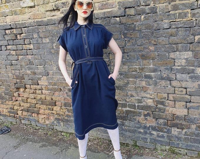 Vintage 1970s 70's Jean Varon Dark Blue Wool Crepe Button Down Midi Belted Dress M L Pockets Constrast Stitch Shirt Dress