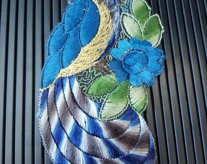 Vintage 1930s Turmac CA silk applique Bird of Paradise Patch 30s art nouveau