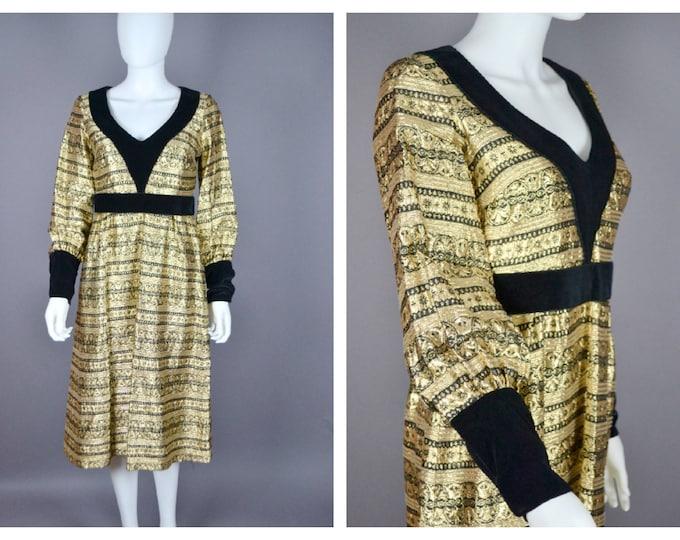 Stunning Vintage 70s 1970's GOLD Metallic Shiny Jean Varon John Bates Lurex Brocade  and Velvet Cocktail Dress M  UK 12 14