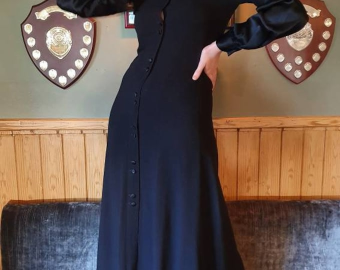 Vintage 1970s 70s Ossie Clark for Radley Black Moss Crepe and Satin Button Down Sexy Maxi Dress S M