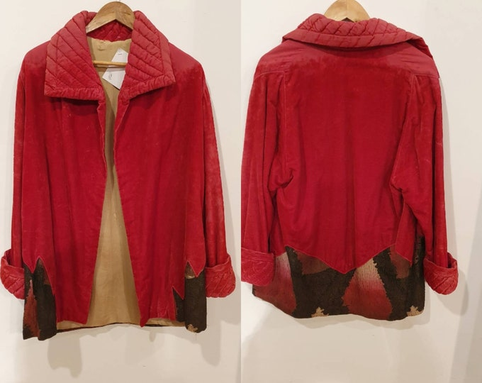 Beautiful vintage 1920s Hot Pink Red Velvet and Lame Opera Evening Jacket Coat S