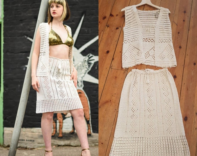 Beautiful Cream Vintage 1960's Crochet 2 Piece Ensemble Waistcoat Skirt S M Festival