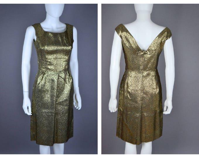 Vintage Metallic Gold Leopard Print 50's 60's 1950's 1960's Wiggle Cocktail Party Sheath Dress S 26 Waist