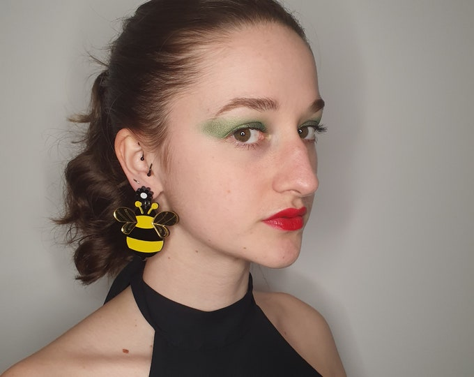 Oversized Laser Cut Acrylic Bees for pierced ears.