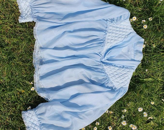 Floaty Vintage 1970s Baby Doll Blue Bed Jacket Balloon Sleeve Cardigan Bri Nylon One Size