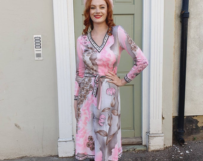 Vintage 1970s 70s Pucci - Esque  Pink and Grey Poly Jersey Long Sleeve Knee Length Dress S UK 8