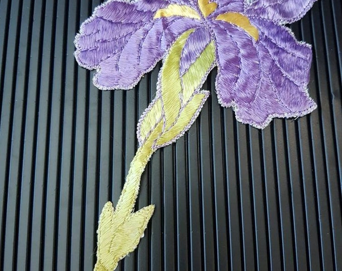Vintage 1930s Turmac CA silk applique Purple and Yellow  Flower Patch large
