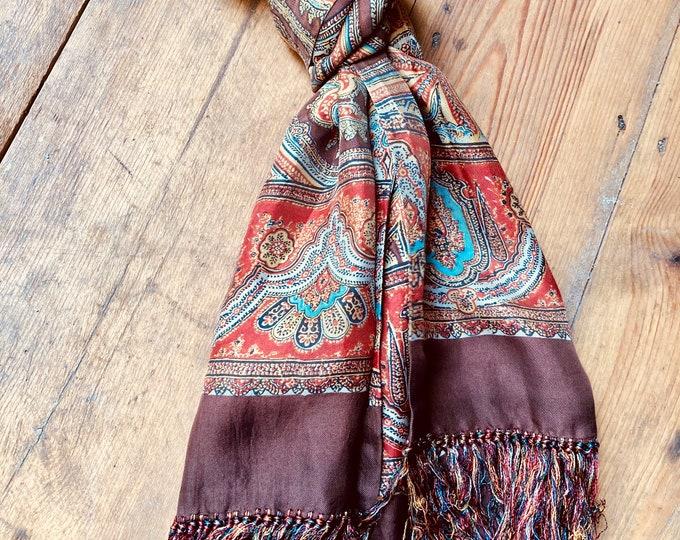 Beautiful Vintage 60s Sixties Silk Paisley Print Scarf Earthy Tones with tassels. Unisex