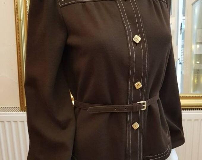 Chocolate Vintage 70s 1970s Jean Varon John Bates Spring Belted Jacket Bishop Slvs S M