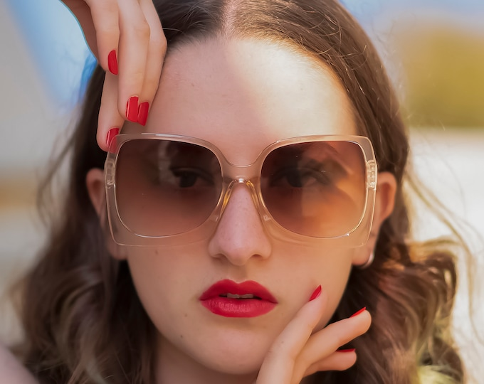 Vintage Style Oversize Square 70s sunglasses. Clear frame with smoky brown lenses