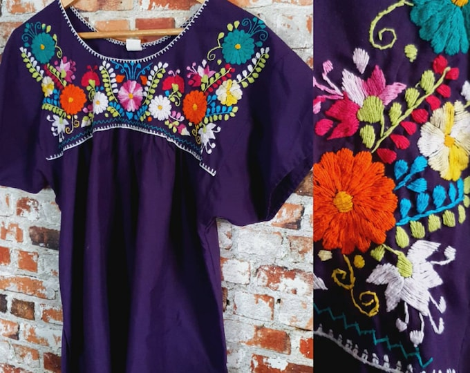 Vintage 80s Vtg Traditional Mexican Embroidered Purple Cotton Mix Tunic Style Top S M