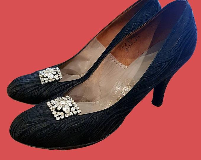 Stunning Rare RAYNE Vintage 1950s 50s Black Leather Print Diamonte Detail Pin Up Mid Heels shoes UK 5 6