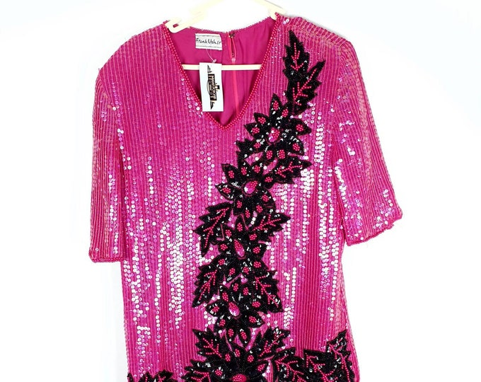 Vintage 1980s 80s Hot Pink Sequin and Beaded Top by Frank Usher M L