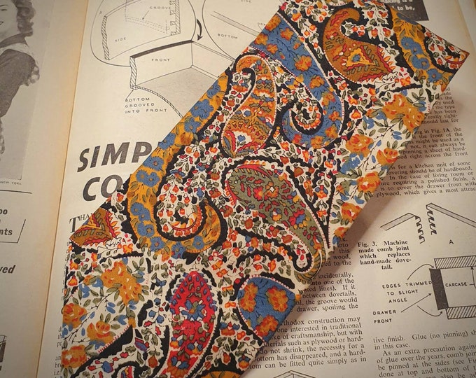 Beautiful Vintage 1990s LIBERTY Tana Lawn Cotton Tie in Vibrant Floral Paisley Excellent Condition