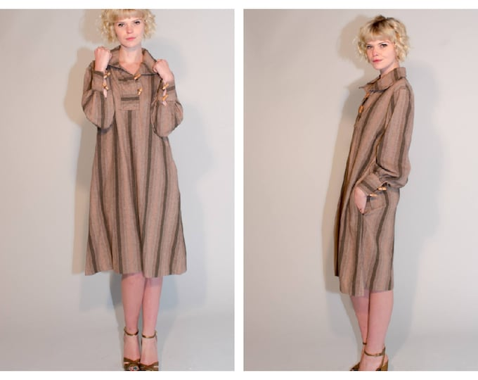 Classic 70's Wool Mix Tunic Loose Fitting Workwear Utility Wear Striped Smock Pirate Dress with Pockets by Jonelle
