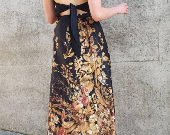 Vintage VTG 1970's 70s Black Gold Bold Print Floral Folk A-line Maxi Skirt UK Size 8 XS