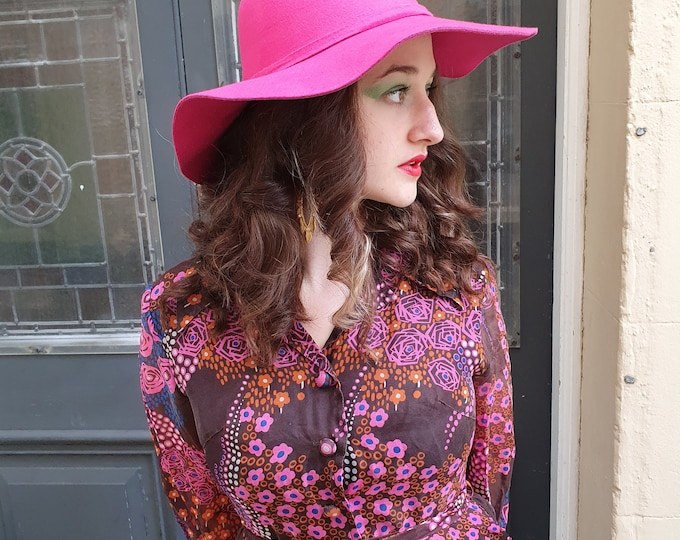 Hot Pink 1970s boho Style Floppy Felt Hat