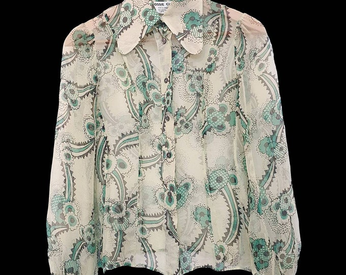 Rare Vintage Ossie Clark Couture 1960s 60s Celia Birtwell Floating Daisies  Green Sheer Silk Chiffon Blouse XS S