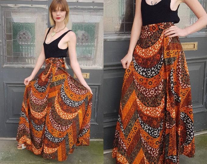Vintage 70s 1970s Block Print Maxi Wrap Skirt Java Print one Size Fits All