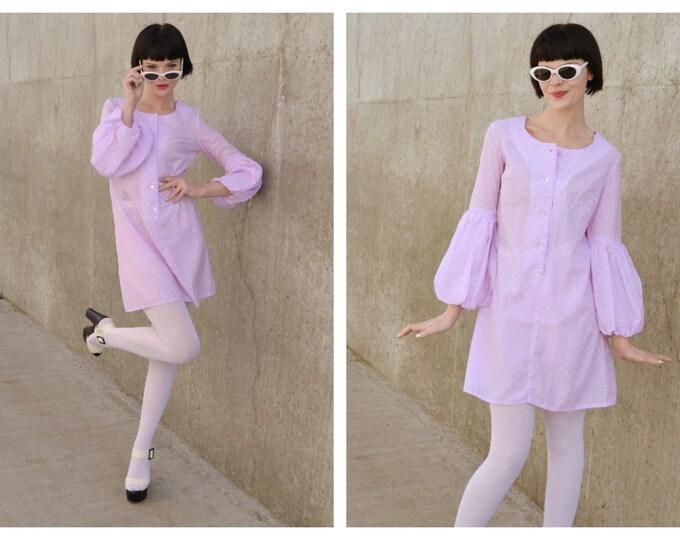 Vintage 60s 70s Polka Dot Mini dress Pastel Statement Sleeves s m