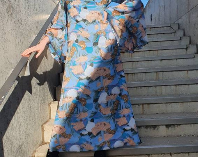 Vintage VTG 70s 1970s Psychedelic Floaty Maxi Dress with Statement Circular Flounce Sleeves and Puff Shoulders  M L 12 14