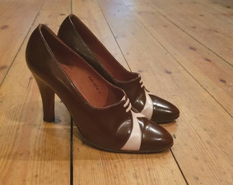 8f69e6b7e54 Vintage 1970 s 70s do 20s Style GINA High Heel Slip on Brown Cream Leather Shoes  Heels Size Uk 5.5 6