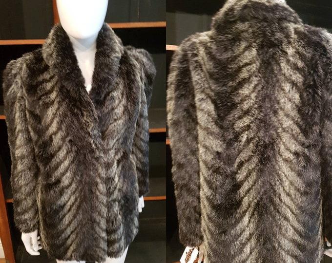 Vintage 1970s Vtg 70s Glamorous Fake Faux Fox Fur Black Grey Striped Jacket M by Tyber
