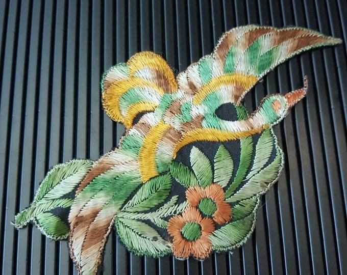Vintage 1930s Turmac CA silk applique exotic  Bird of Paradise Patch 30s art nouveau