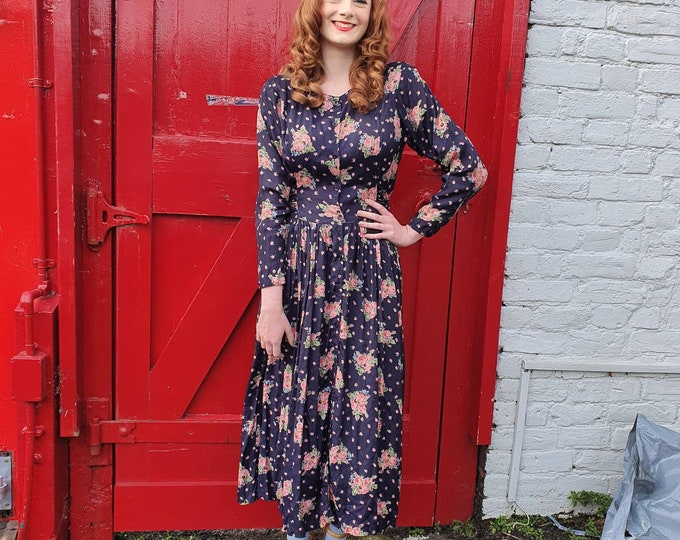 Vintage 1990s 90s Miss Selfridge Navy Midi or Maxi Length  Floral Print Dress with Pockets and Statement Back Sash Tie Belt Long Slvs S M L