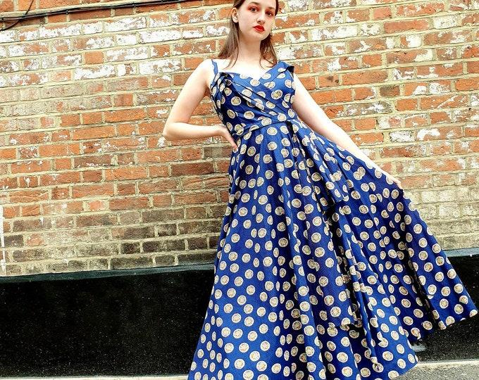 Stunning Early 40s 1940's Vintage Navy Blue Maxi Dress Heavy Seersucker Cotton Print Gown Swag Waist M