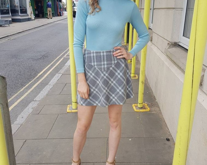 Flirty Vintage Vtg 70s Grey Blue Plaid Tartan A Line wool mix Mini Skirt  XS waist UK