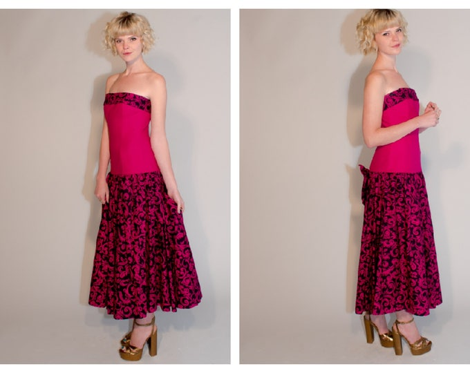 Vintage 80's Laura Ashley Hot Pink Heavy Cotton Strapless Full Circle skirt drop Waist Party Dress Statement Bow