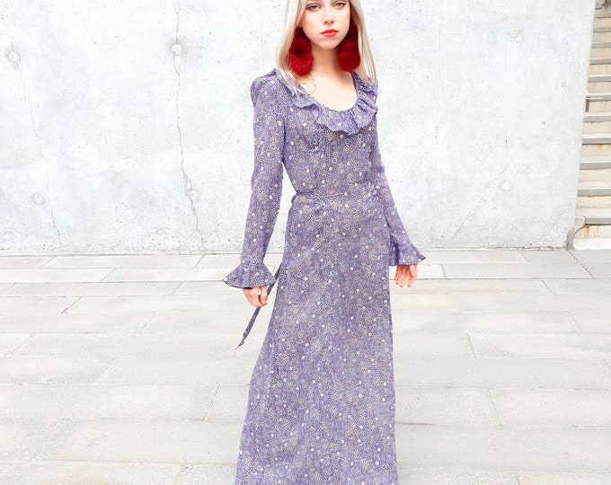 Vintage 1970s 70s Dollyrockers Sambo Purple Circle Print Crepe A line Maxi Dress UK 8 S
