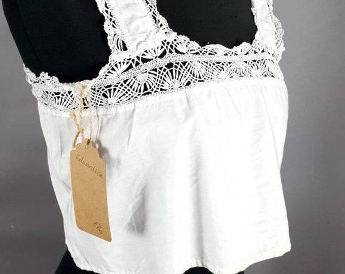 Vintage 1910s Antique Edwardian White Lawn Cotton Corset Cover Camisole Top with Art Nouveau Arts and Crafts Crochet  S M