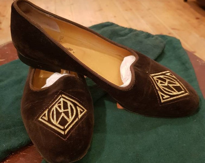 Vintage Ralph Lauren 90s Brown Velvet Gold Embroidered Front Slip On Flats Uk 5 Shoes