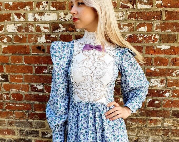 Vintage 1970s cotton Victoriana Prairie Ditsy Floral maxi dress by Wallis Puffed Shoulders High Neck Crochet Bib S