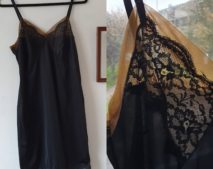 Sexy and Unusual Vintage 1970s Black Lace Trim Slip With Sheer Nude Trim By St Michael 70s 38 Bust M