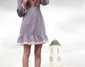Cute VTG 80's Floral Lolita Baby Doll Frill Mini Dress