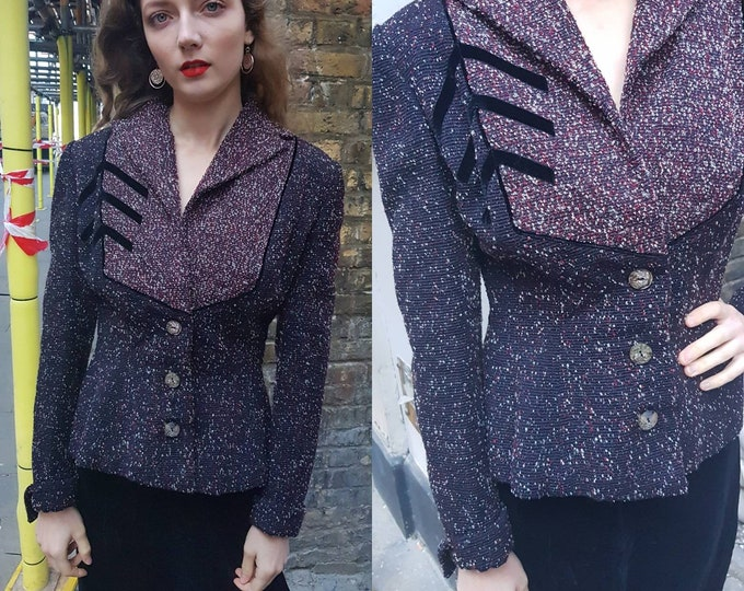 Rare Vintage 1940s LILLI ANN Boucle Fitted Jacket Blazer Chevron Detail 40s Excellent Condition UK 10
