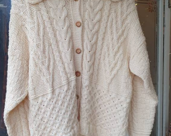 Chunky Vintage 1990s 90s Tivoli Pure New Wool Cream Aran Knit Cable Knit Irish Fisherman Jumper Oversized Cardigan  M L XL