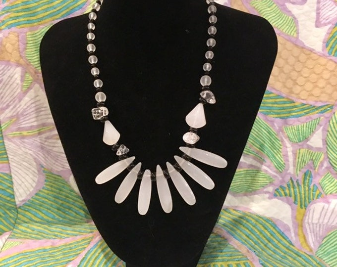 """1950s Glass bead necklace Black and Semi transparent White glass Vintage 16"""""""