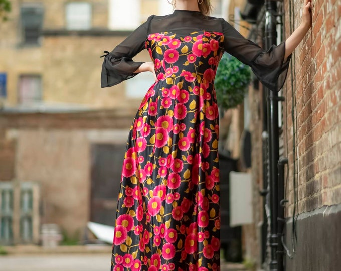 Vintage 1970s 70s Sheer Top and Flounce sleeve Floral Maxi Dress - M Uk 12
