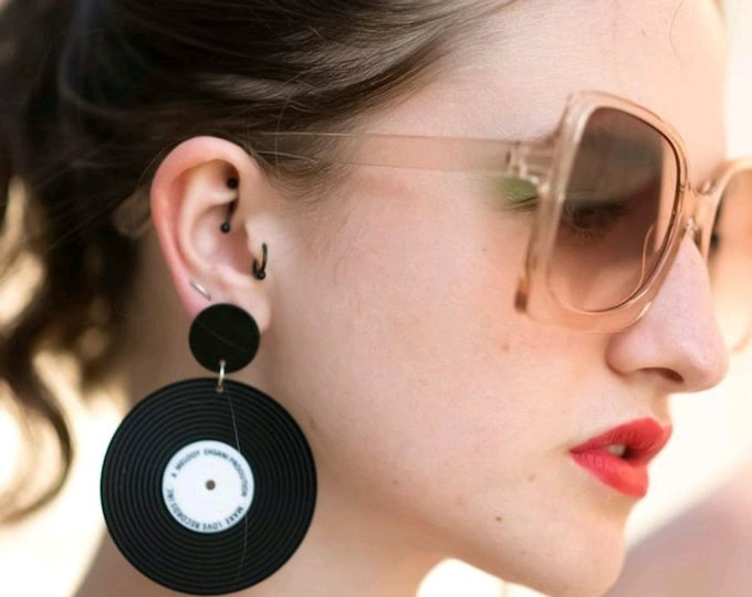 Oversized Statement Acrylic Vinyl Record Earrings  pierced ears