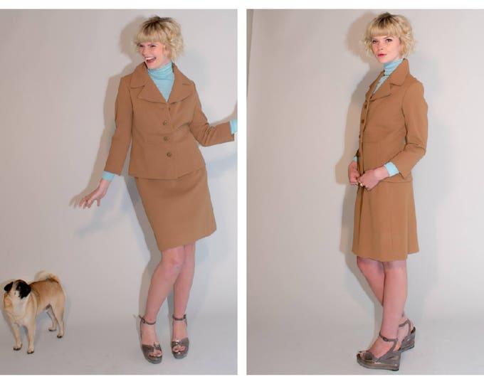 Coffee au Lait Tan Vintage 60's Mod Two PIece Suit JACKET and Skirt 1960's vtg S